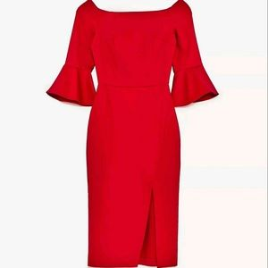 Zara Off Shoulder Bell Sleeve Fitted Red D…